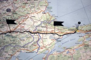 Aerial Map showing route of cycle ride from London to Istanbul