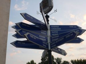 Signpost twin towns Europe