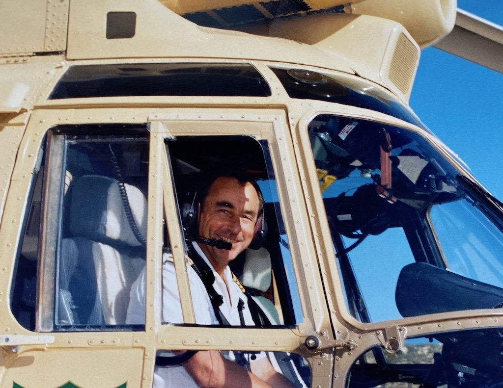 In the cockpit of a helicopter