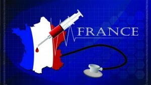 French tricolor with syringe and stethoscope